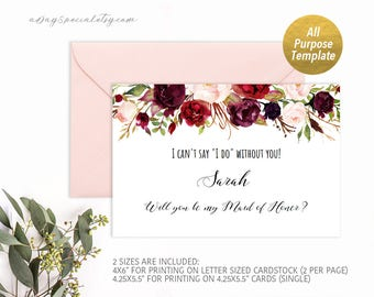 Burgundy Floral All Purpose Proposal Card Template, Printable Will you be my bridesmaid card, Maid of Honor, DIY PDF download #105 #101 #115