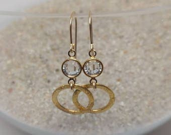 Gold crystal earrings, bridesmaid jewelry, French hook, hammered gold circle, elegant, circle drop with crystal, gifts for her, gold-filled
