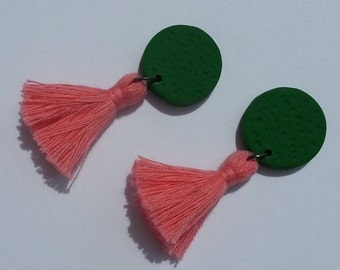 Green and pink tassel earring