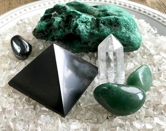 Shungite Pyramid, Malachite, Quartz, & Hematite Pebble on Bed of Tumbled Crystal in Ceramic Dish
