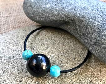 Large Shungite Bead Bracelet w/Genuine Turquoise