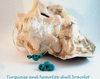 Turquoise and hematite skull bracelet