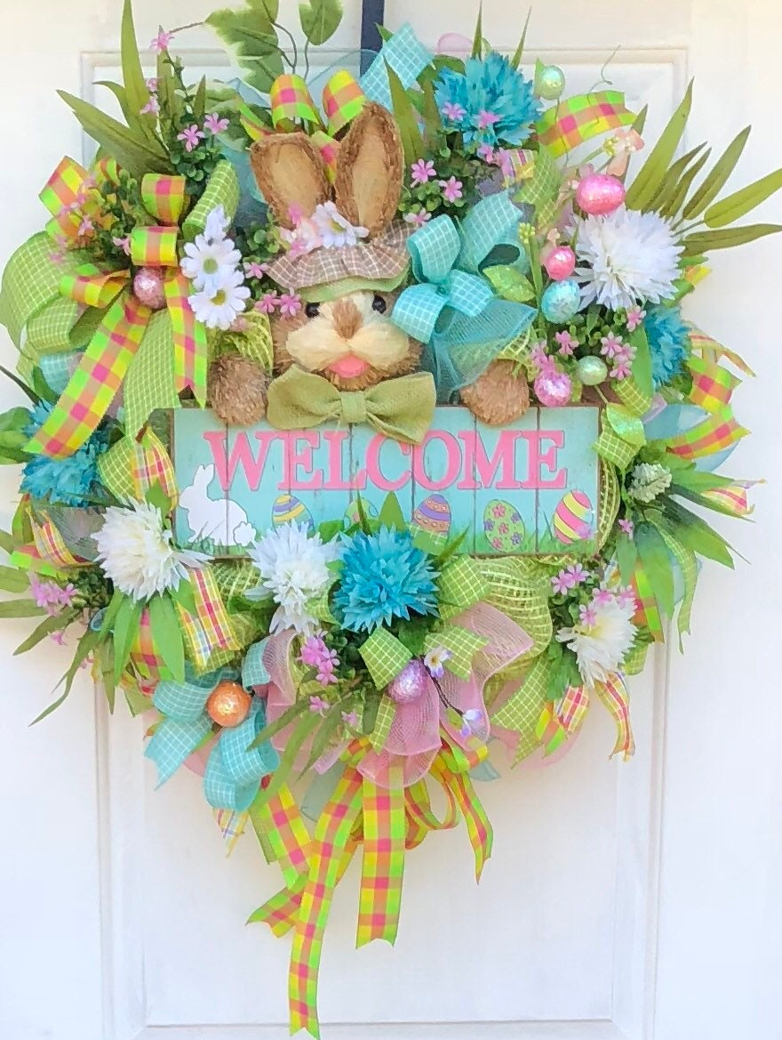 Easter wreath easter wreath with bunny spring wreath easter egg easter wreath easter wreath with bunny spring wreath easter egg deco mesh wreath spring front door wreath sassy doors wreath rubansaba