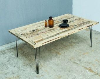 Holz Esstisch Mit Hairpin Tischbeine, Schreibtisch Handgefertigt, Modern  Tisch Erbaut Von Verschiedene Holzarten,