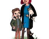 Illustrated Family Portraits - custom 4 character - human or animal