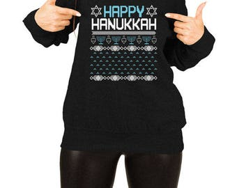 Hanukkah Sweater Womens Jewish Clothing Hanukkah Gifts For Women Ugly Christmas Sweater for Girls Menorah Gift Ideas Jewish Holiday TEP-381