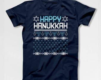 Ugly Holiday T Shirt Happy Hanukkah Gift Ideas Holiday Tshirt Star Of David Jewish Clothing Chanukah Presents Jewish Holiday Menorah TEP-381