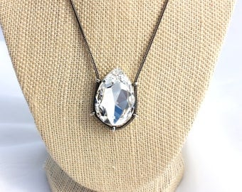 Classic Crystal 30x20mm Teardrop Pear Single Stone Swarovski Crystal Pendant Necklace in Antique Silver Finish