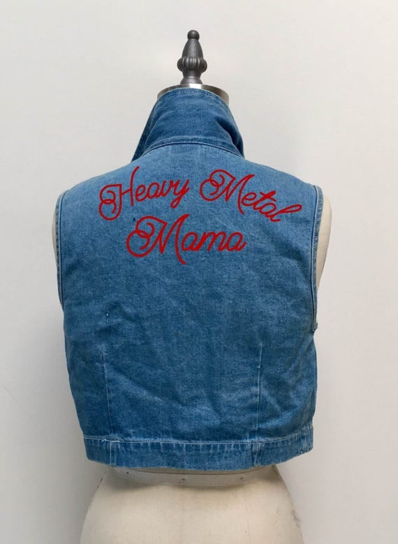 """""""Heavy Metal Mama"""" Hand Embroidered Cropped Denim Vest"""