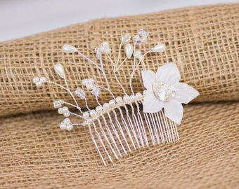 Hair comb wedding Swarovski heart