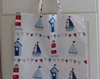 Blue and Red Marine Shopping Bag