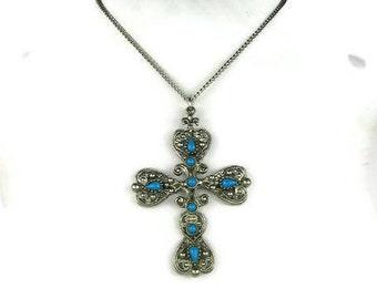 Southwestern Cross Pendant Necklace