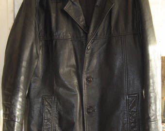 Vintage Black Men's Leather Short Coat. Size L