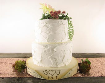 Personalized Wood Slice Cake Stand ~ Personalized Cake Stand ~ Stump Cake Stand ~ Personalized Cake Plate ~ Garden Wedding ~ Birch