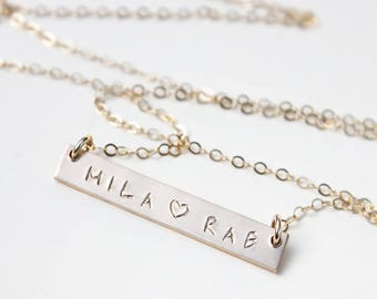 Gold Bar Necklace Personalize / Two Name Necklace / Mom Necklace with Kids Name / Kids Name Necklace / Custom Nameplate Necklace / Mommy