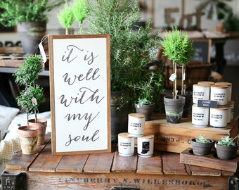 1'X2' It Is Well With My Soul Framed Wood Sign