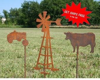 Farm yard stake set, Farmer gift set, Ranch gift set, Windmill Stake, Cow Stake, Tractor Stake, Farm and garden, Farm landscape set