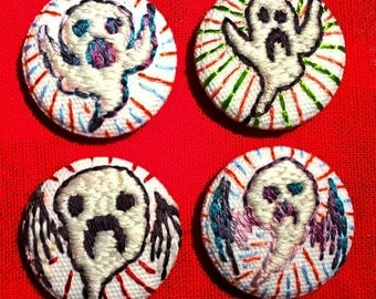 Glow Ghost Embroidered Button Badge in Mystery Coffin Box