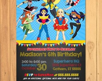DC Superhero Girls Invitation Chalkboard - Girl Superhero Birthday Party Invite - DC Superhero Girls Party Printable - Superhero Girl Invite