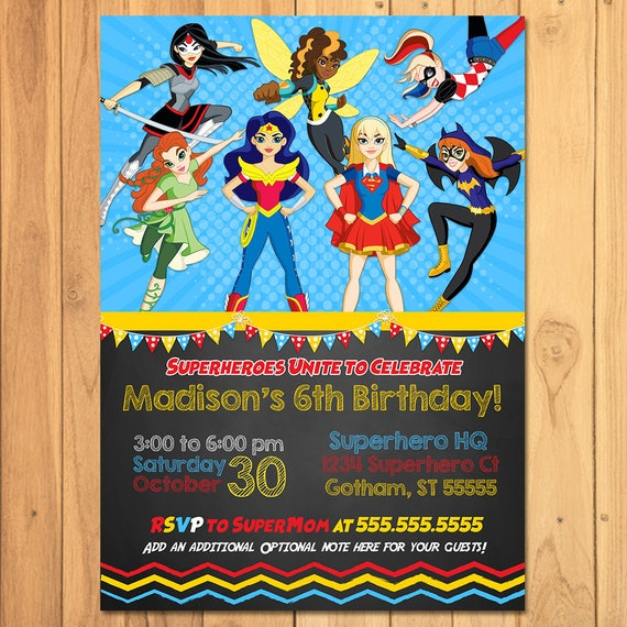 DC Superhero Girls Invitation Chalkboard - Girl Superhero Birthday Party Invite - DC Superhero Girls Party Printable - Superhero Girl Invite