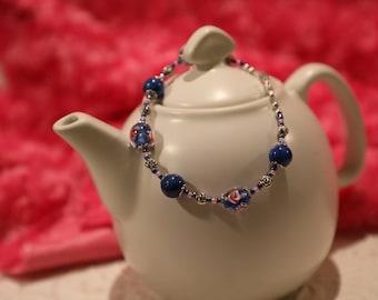 Glass Bead Bracelet - Name:  Denim Rose