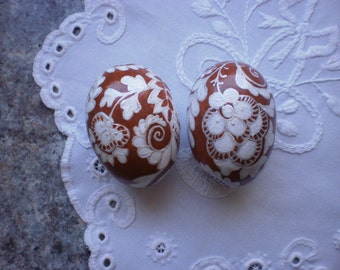 Decorative Easter eggs Set of 2 eggs Easter eggs Painting wood eggs Easter decorations Hand painted eggs Painting on eggs Rustic Easter eggs