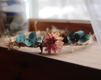 Eucalyptus and Straw Flower Braided Crown/ Fairy Crown/ Flower Tiara/ Wedding/ Flower Girl/ Dried Flowers/ Dried Flower Wreath
