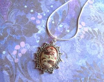 Rhyolite Jasper Necklace, Tumbled Rhyolite Necklace,  Polished Rhyolite Stone Necklace,Brown Jasper Jewelry,Rhyolite Jasper Pendant Necklace