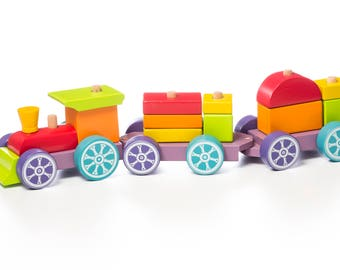 Wooden Train Set, Sorting toy, Wooden Train Toy, Wooden Toy, Natural Waldorf Toys, Toddler Activity, Organic Toddler Toys, Choo Choo Train