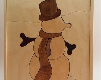 Hand Made Wooden Snow Man Puzzle Great for Kids