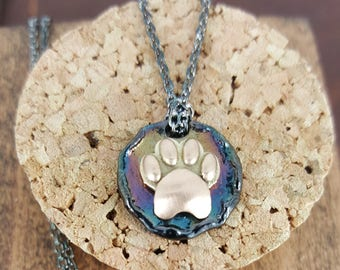Gold Animal  Paw Pendant, made out of 18 Karat Gold and Silver