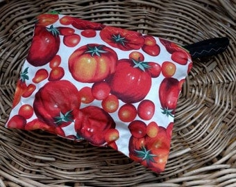 Tomato Lover, Tomato Fabric, Zipper Bag, Crimson Red, Emerald Green, Gardener Gift, Vegan Gift, Produce Kitchen Decor, Fresh Veggie Grower