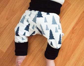 Certified Organic Cotton Adjustable Leggings - Blue Trees with Black Trim / Baby / Toddler Roll Leg and Waist