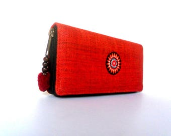 Hemp Wallet, Hmong Wallet, Women Wallet, Hippie Wallet, vegan wallet, Boho Purse, Hmong Purse Ethnic Purse bohemian Gift Wallet