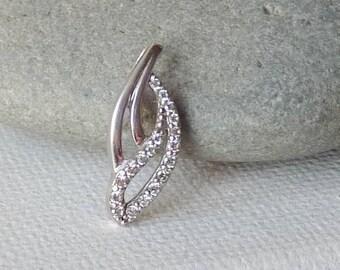 Sterling Silver Cubic Zircon Pendant, Small CZ 925 Silver Pendant, Minimalist 925 Pendant, 70's Jewelry, Girl's Jewelry Retro Minimalist