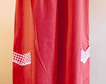 Go-Ins by Danville Red Gingham Housedress Zip Front Cotton Dress 1960s House Dress