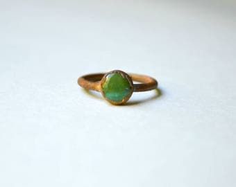 Magnesite Turquoise & Copper Ring Size 5.75