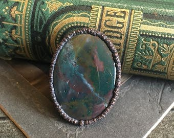 Bloodstone Ring Large Crystal Ring 8 / Big Statement Ring / Handmade Stone and Copper Electroformed Ring / Hippie Ring Gypsy Ring Boho Ring