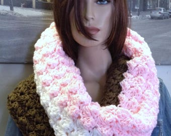 Neopolitan Ice Cream Handmade Crochet Scarf Double Thick Huge Winter Cowl Scarf Gift for Her Fun Colors Brown White Pink Scarf READY TO SHIP