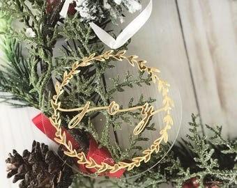 Gold Christmas Ornament - Gold acrylic ornament, JOY, Christmas Ornament, 2017 Family Christmas Ornament,Family Ornament Keepsake,SHIPS FAST