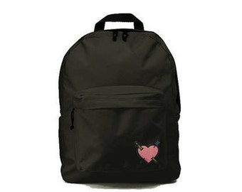 Black backpack with Heart patch 33x41x19cm