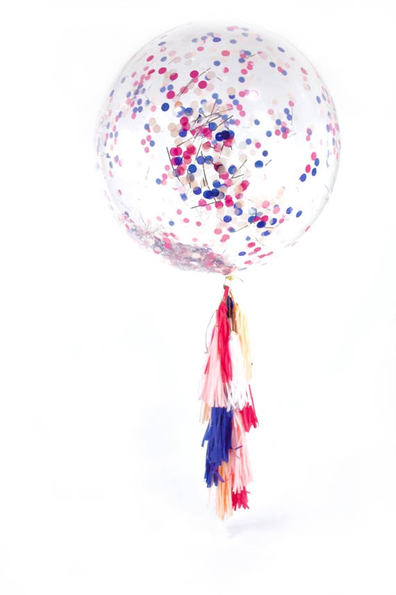 "36"" Macaroon Balloon, Giant Clear Balloon, Confetti Balloon, Tassel Balloon, First Birthday Wedding Balloon Bridal Shower Baby Shower Girl"