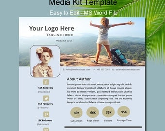 Media kit template, One page media kit, Media kit for blogger, Press Kit Template, Media Kit, Word Media Kit, Word Media Kit, Media Kit Word