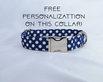 "Navy blue polka dots, adjustable dog collar, Metal buckle, medium, 1"", Dog Collar, FREE PERSONALIZATION"