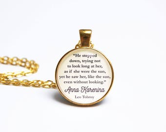 Anna Karenina Quote Pendant. Leo Tolstoy Quote Necklace. She Were The Sun. Vintage Book Jewellery Literary Gift. Book Lover Literary Wedding