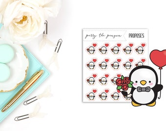 Perry the Penguin Proposes   Planner Stickers