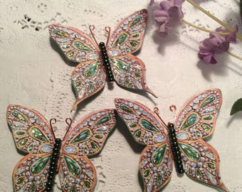 Emeralds and Diamonds Green Glass Bodied Butterflies DarlingArtByValeri Set for Scrapbooking Embellishment Mini Albums Cards Wedding Gifts