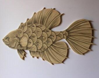 Hanging Mobile Art, Original Fish Drawing, Plywood, Handmade, Surreal Art, Eyes, Natural Style Wood, Fantastic Beasts, Ooak, Free Shipping