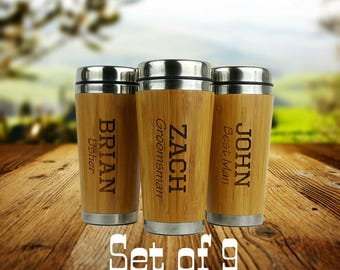 Set of 9 - Groomsmen Gift - Personalized - Stainless Steel Bamboo Coffee Tumbler - Best Man, Groomsman, Father of the Bride