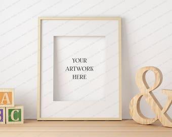 Nursery Frame Mockup, Wood Frame Mockup, 8x10 Frame Mockup, Empty Frame Mockup, Framed Art, Artwork Mockup